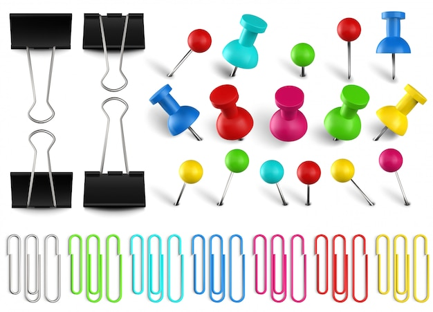 Colorful pushpins and paperclips binders. color paper clip, red pushpin and office papers clamp. realistic pins set. multicolored stationery items. school and secretary accessories