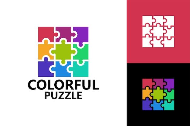 Colorful puzzle logo template premium vector