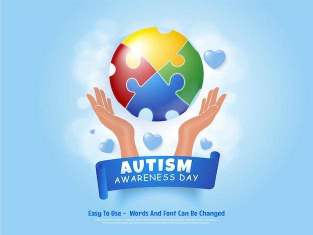 世界自閉症啓発デーのカラフルなパズル