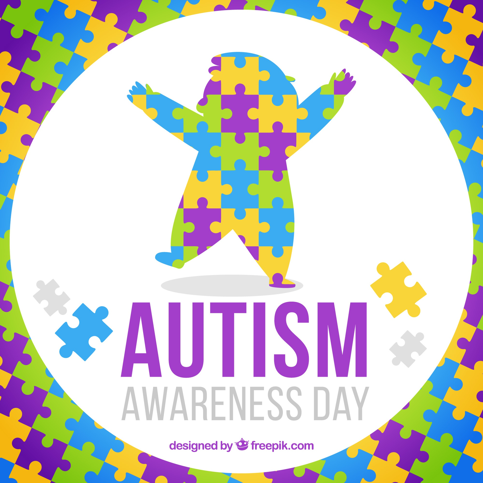 Colorful puzzle pieces background for autism day