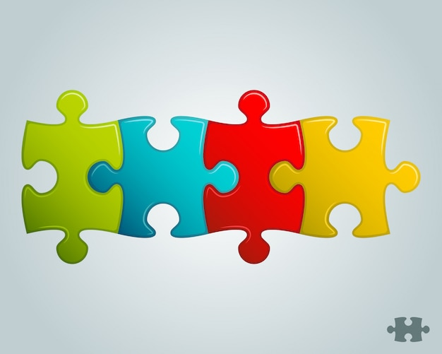 Colorful puzzle pieces horizontal line