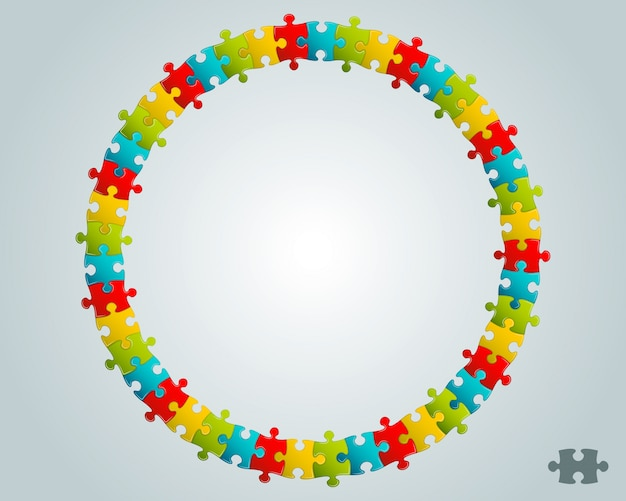 Colorful puzzle round  frame