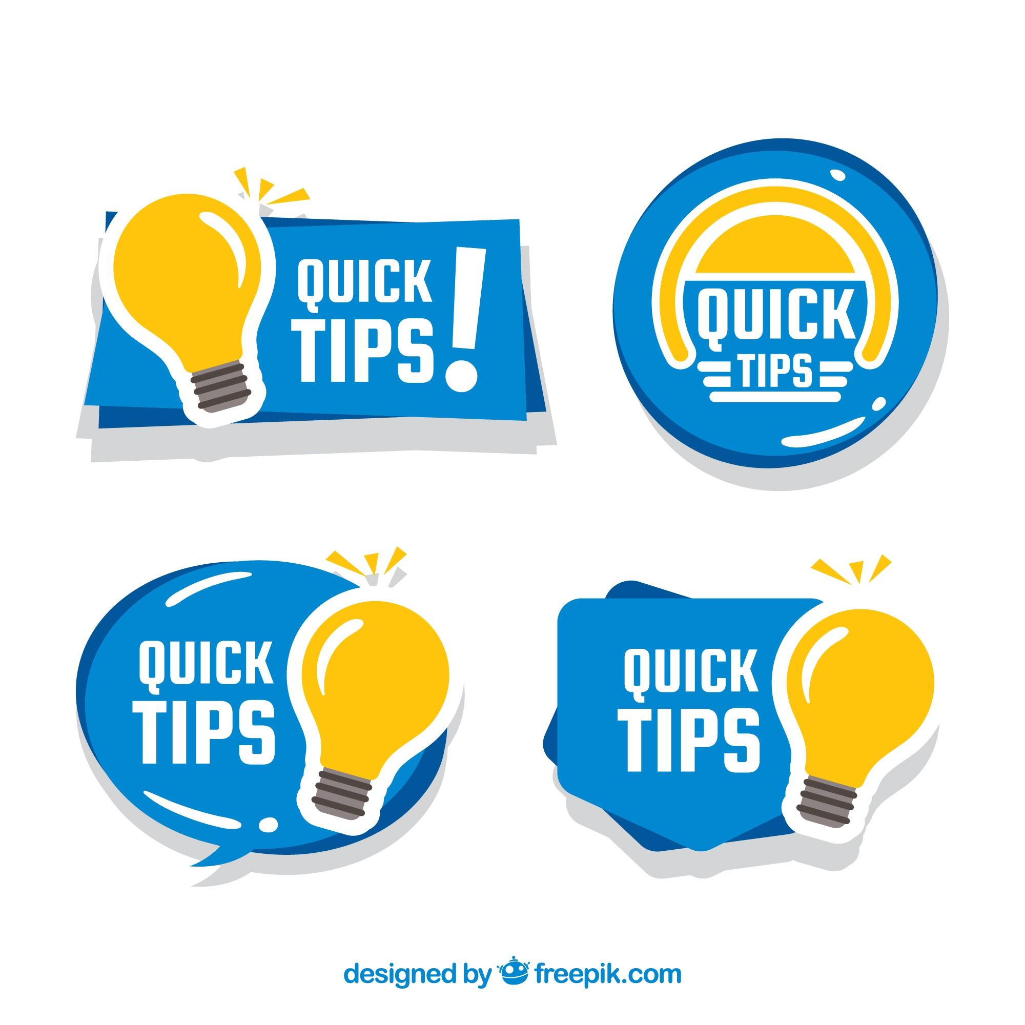 Colorful quick tips badge collection