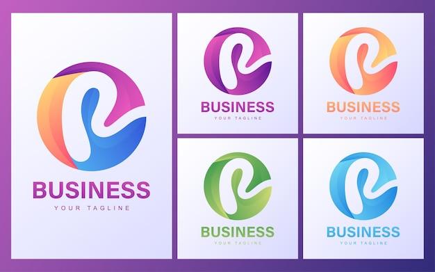 モダンなコンセプトのカラフルなr文字のロゴ