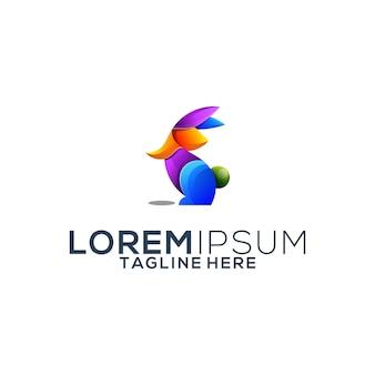 Colorful rabbit logo design