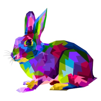 Colorful rabbit on  pop art style