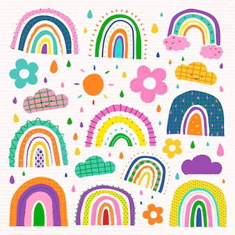 Arcobaleno colorato in un set vettoriale di stile doodle funky