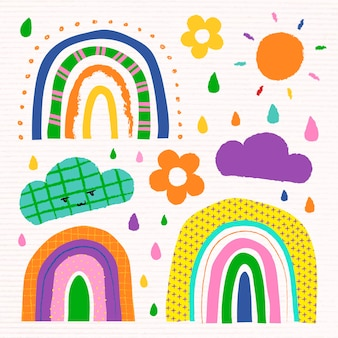 Colorful rainbow in funky doodle style vector set