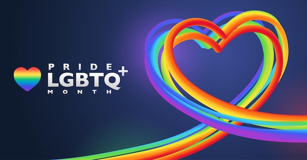 Colorful rainbow heart shape for lgbtq pride month