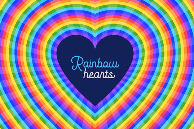 Colorful rainbow hearts  background