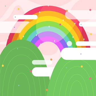 Arcobaleno colorato illustrato con nuvole