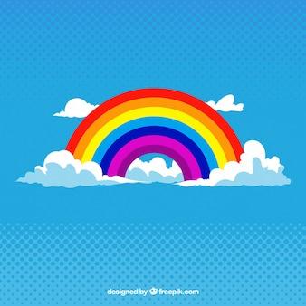 Красочной радуги на фоне облаков абстрактных