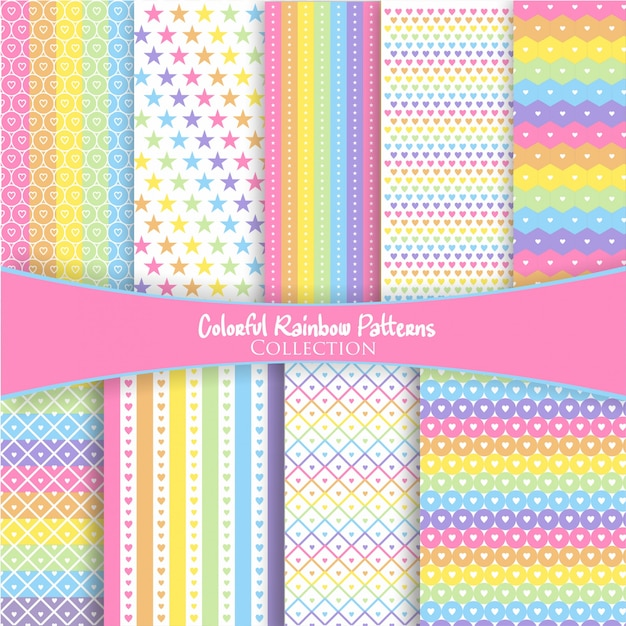 Colorful rainbow pattern collection