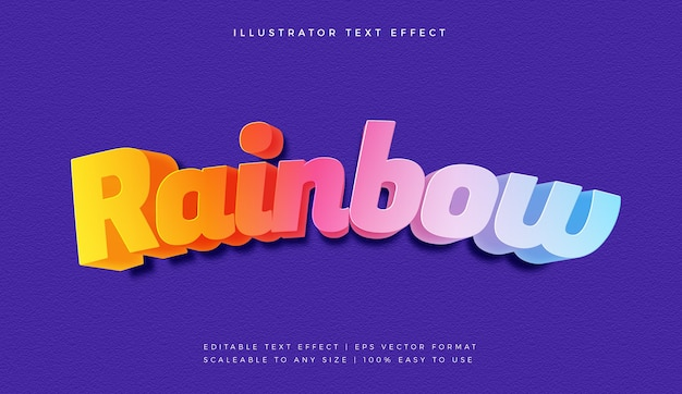 Colorful rainbow text style font effect