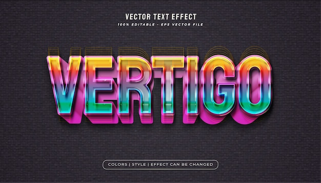 Colorful rainbow text style with bold realistic effect