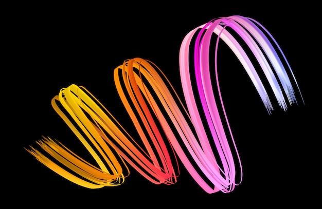 Colorful raindow flow on black background. ribbon volume wave.