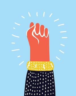 自由の革命抗議のカラフルな上げられた拳のシンボル