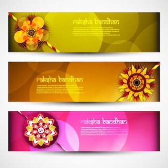 Colorful raksha-bandhan banners