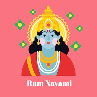 Colorful ram navami in flat design