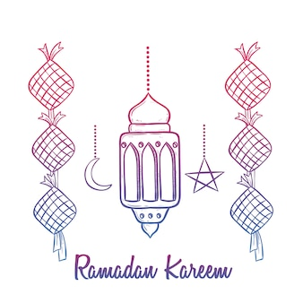 Colorful ramadan kareem celebration with lantern and text