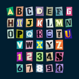 Colorful ransom note letter collection