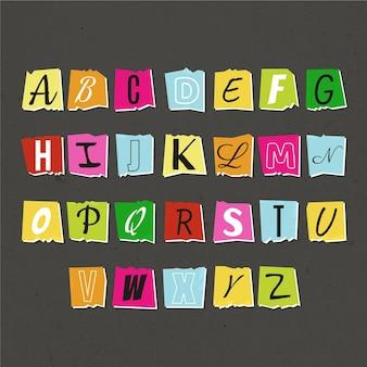 Collezione di lettere di nota di riscatto colorato