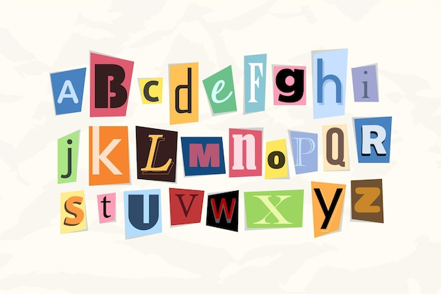 Colorful ransom note letter pack
