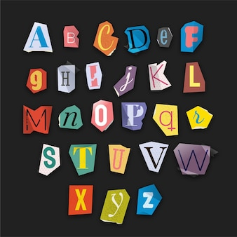 Colorful ransom note letter set