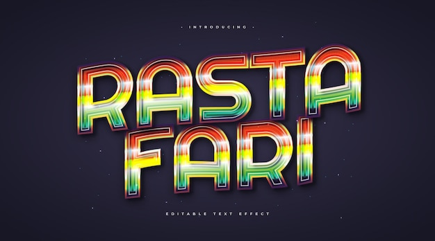 Colorful rastafari text style with glowing effect. editable text style effect