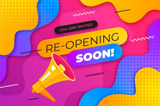 Colorful re-opening soon banner