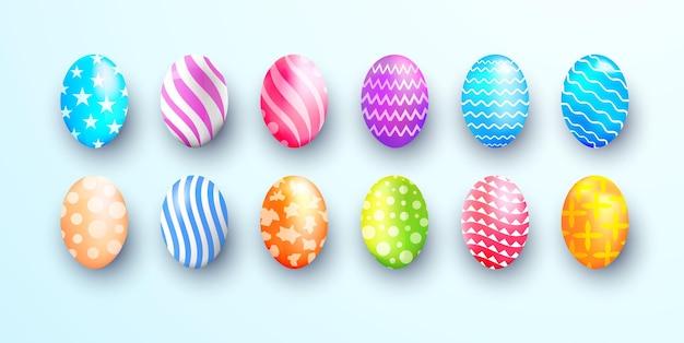 カラフルな現実的な卵のイラスト