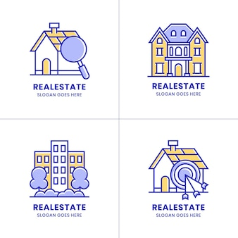 Colorful real estate and houses logo collection design