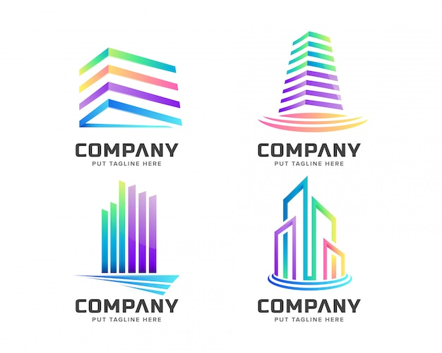 Colorful real estate logo set collection