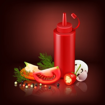 Colorful realistic background with red plastic bottle