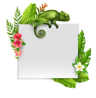 Colorful realistic banner with empty paper sheet framed by tropical plants and flowers and sitting chameleon