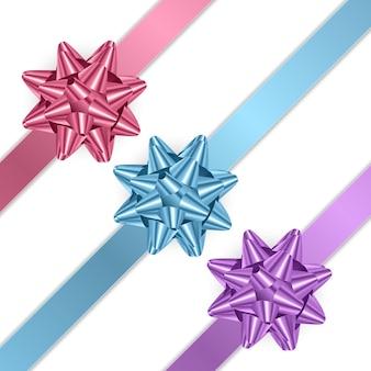 Красочные, реалистичные бантики. подарочный элемент иллюстрации
