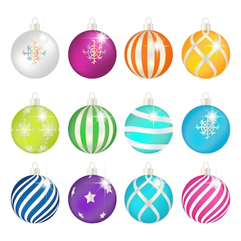 Colorful realistic christmas ball with ornament