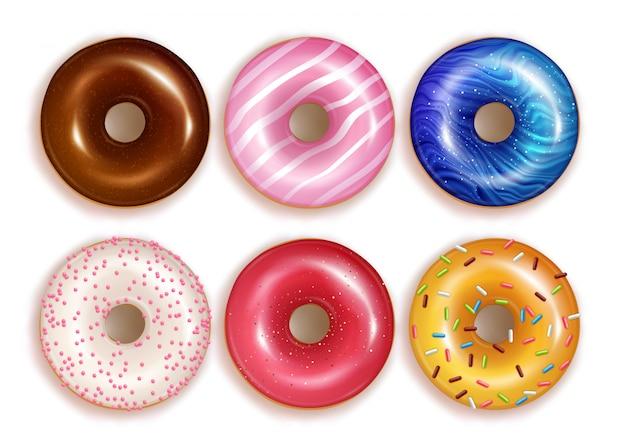 다채로운 현실적인 도넛 세트입니다.
