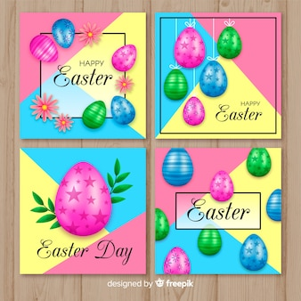 Colorful realistic eggs easter card collection