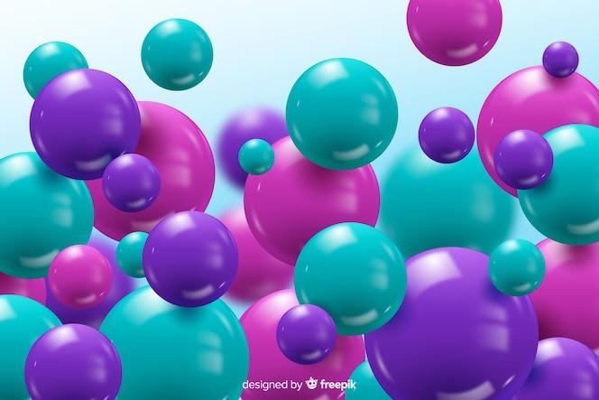 彩色的现实流动光泽球背景