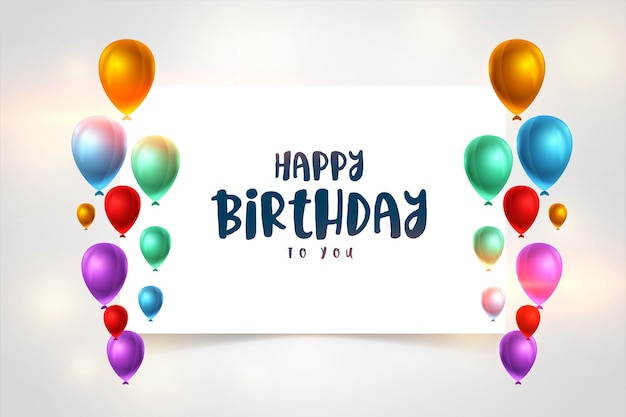 Colorful realistic happy birthday balloons background