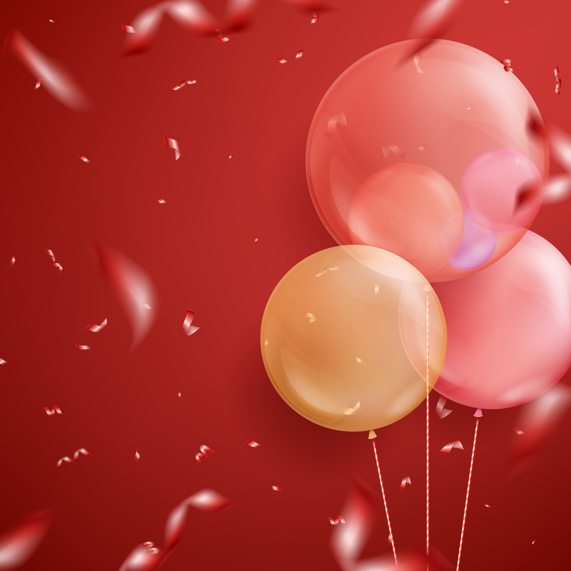 Colorful realistic helium balloons