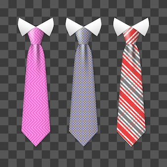 Colorful realistic neck ties set isolated on transparent