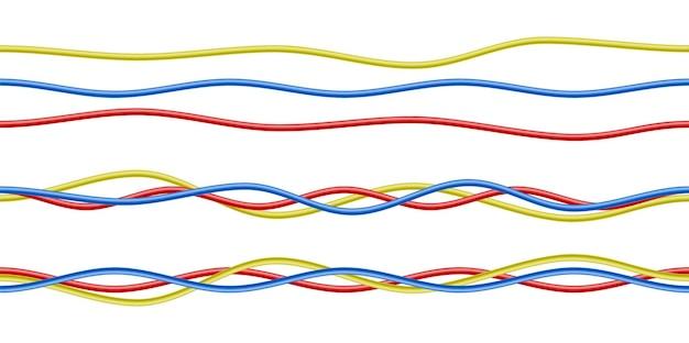 カラフルでリアルな赤、青、黄色の電気ケーブルが白で隔離