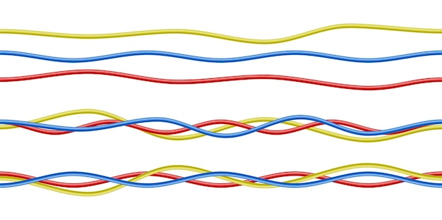 Colorful realistic red, blue and yellow electricity cables isolated on white