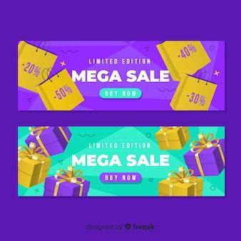 Colorful realistic sale banner set