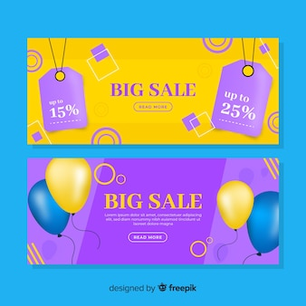 Colorful realistic sale banner set