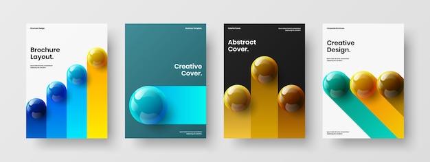 Набор шаблонов плакатов красочных реалистичных сфер