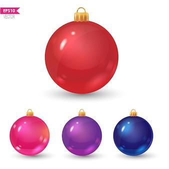 白い疑似ボリュームのクリスマスの装飾に分離されたカラフルなリアルなベクトルボール