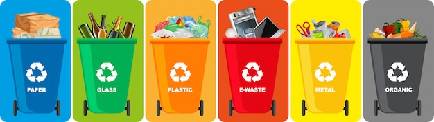 Colorful recycle bins with recycle symbol isolated on color background